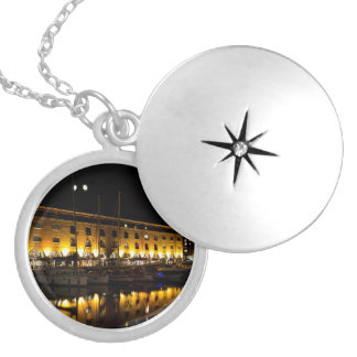 St Katherines Dock London night View Locket Necklace