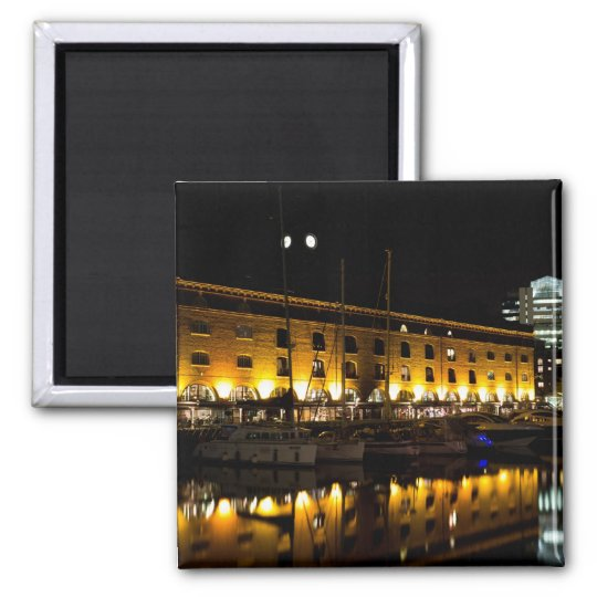 St Katherines Dock London night View Magnet