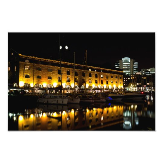 St Katherines Dock London night View Photo Print