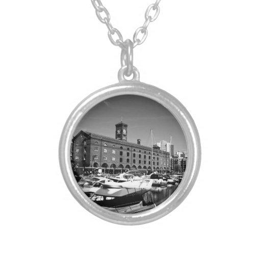 St Katherines Dock london Round Pendant Necklace