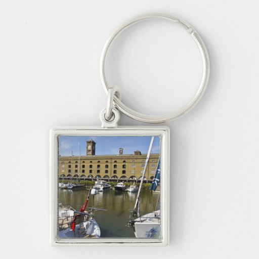 St Katherines Dock London Silver-Colored Square Keychain
