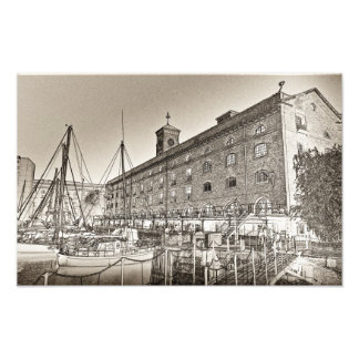 St Katherine's Dock London sketch Photo Print
