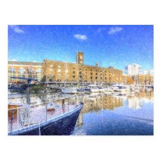 St Katherines Dock London Snow Postcard