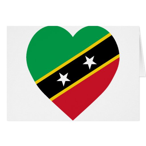St kitts and nevis flag heart card zazzle