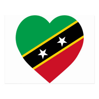 St Kitts and Nevis Flag Heart Postcard