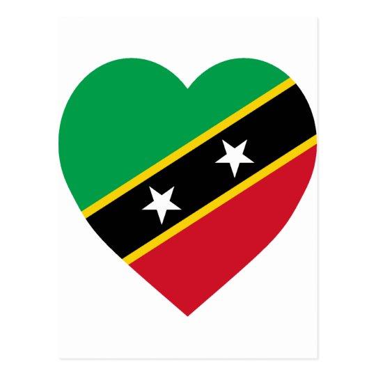 St Kitts and Nevis Flag Heart Postcard