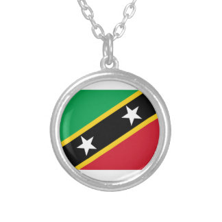 St. Kitts And Nevis Flag Silver Plated Necklace