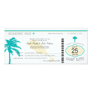 St. Kitts Boarding Pass Wedding Card