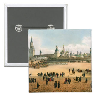St. La catedral de la albahaca vista del Kremlin,  Pin Cuadrada 5 Cm