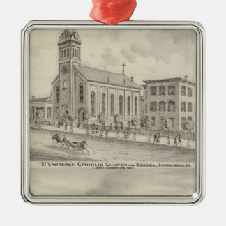 St Lawrence Catholic Church and School Metal Ornament