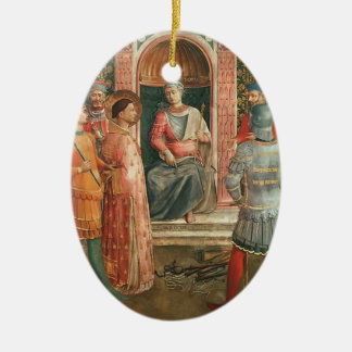 St. Lawrence on Trial  by Fra Angelico Double-Sided Oval Ceramic Christmas Ornament