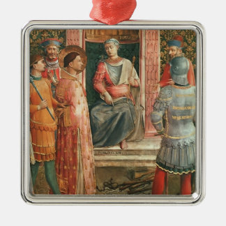 St. Lawrence on Trial  by Fra Angelico Square Metal Christmas Ornament