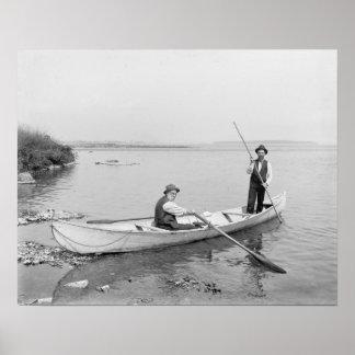 St. Lawrence River Boatmen, 1890. Vintage Photo Poster