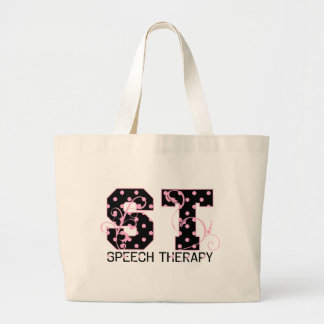st letters black and pink polka dots jumbo tote bag