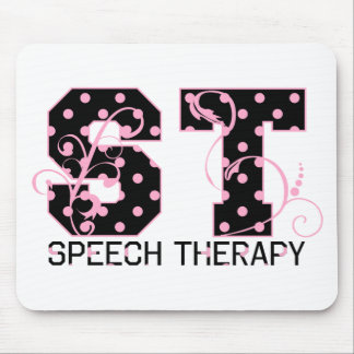 st letters black and pink polka dots mouse pad