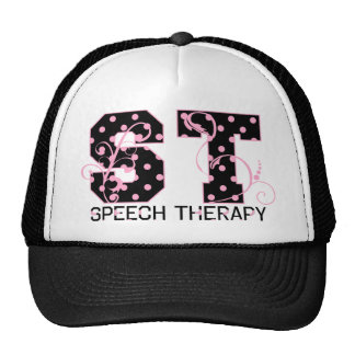st letters black and pink polka dots trucker hat