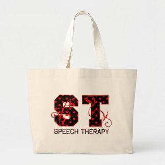 st letters black and red polka dots shadow large tote bag