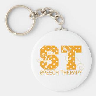 st letters orange and white polka dots keychain