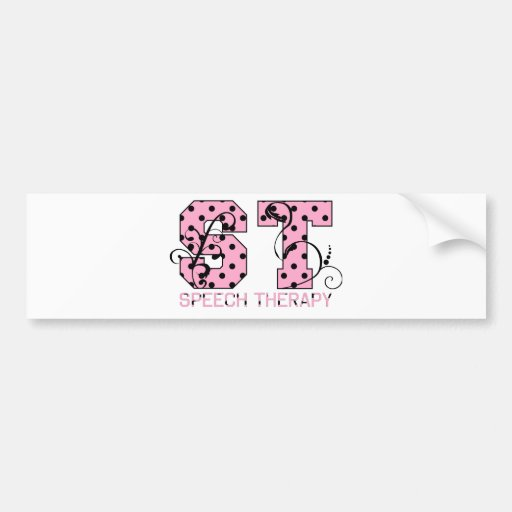 st letters pink and black polka dots bumper stickers