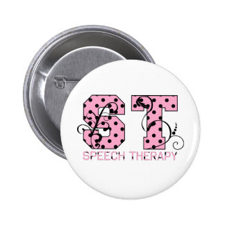 st letters pink and black polka dots button