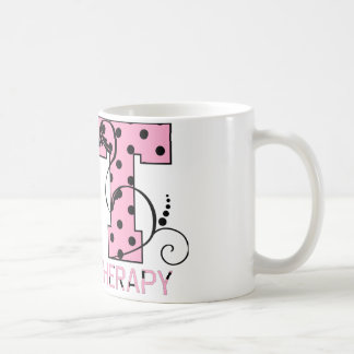 st letters pink and black polka dots coffee mug