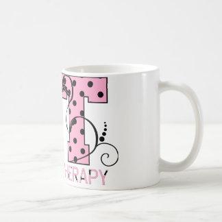 st letters pink and black polka dots coffee mug