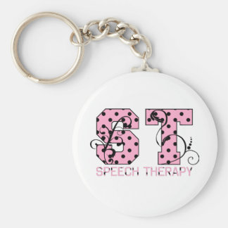 st letters pink and black polka dots keychain