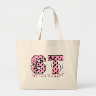 st letters pink and black polka dots large tote bag