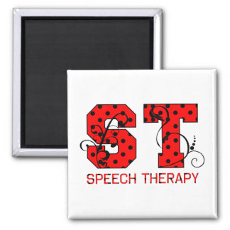 st letters red and black polka dots magnet