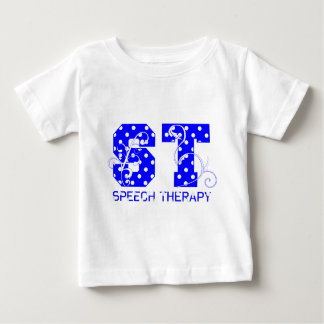 st letters white and blue polka dots t-shirt