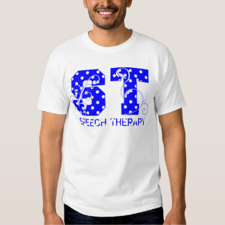 st letters white and blue polka dots tee shirt