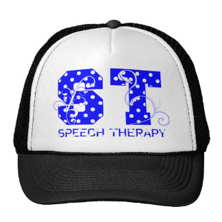 st letters white and blue polka dots trucker hat