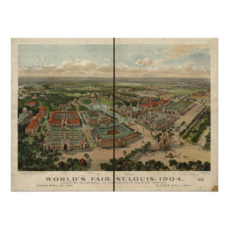 St Louis 1904 World's Fair Expo Antique Panorama Poster