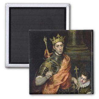 St. Louis  and his Page, c.1585-90 2 Inch Square Magnet