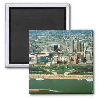 St. Louis Arch and Skyline 2 Inch Square Magnet