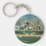 St. Louis Arch and Skyline Basic Round Button Keychain