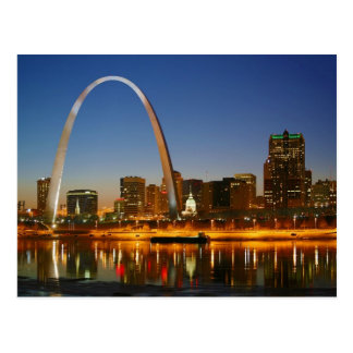 St Louis Arch Missouri on the Mississippi by Night Postcard