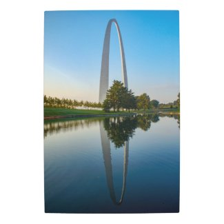 St Louis Arch Reflection Metal Print