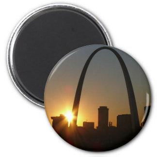 St. Louis Arch Sunset 2 Inch Round Magnet