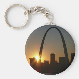 St. Louis Arch Sunset Basic Round Button Keychain