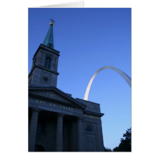 St. Louis Arch w/ Church Greeting Cards