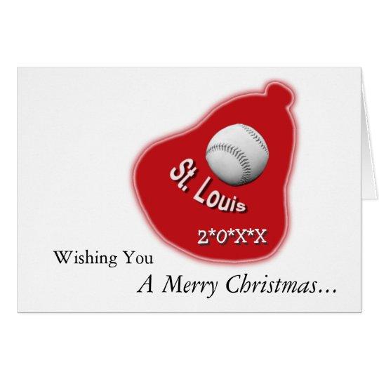 St. Louis Baseball & Bell Christmas Greeting Card