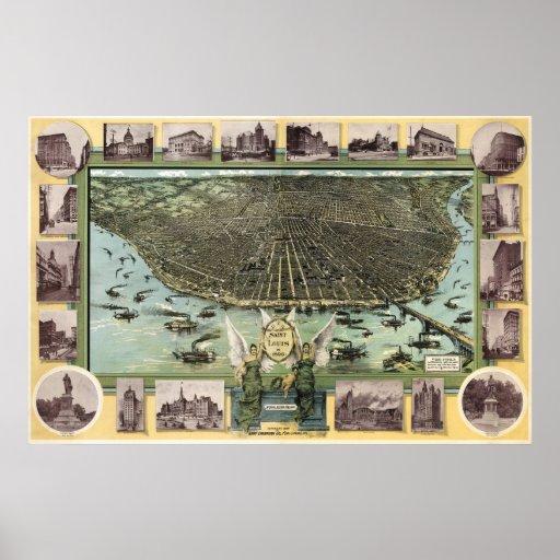 St Louis birdseye map  - 1896 (Graf) BigMapBlog Poster