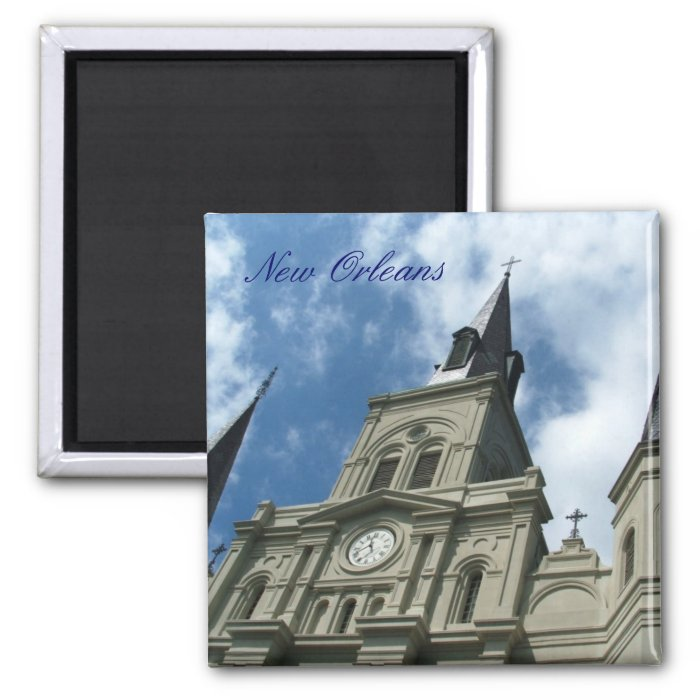St Louis Cathedral Church in New Orleans 2 Inch Square Magnet