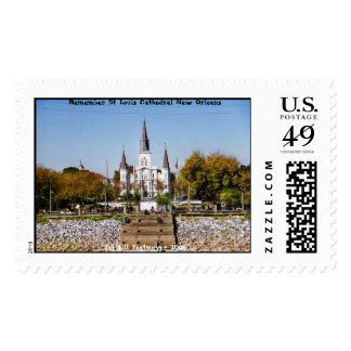St Louis Cathedral from Moonwalk Stamp