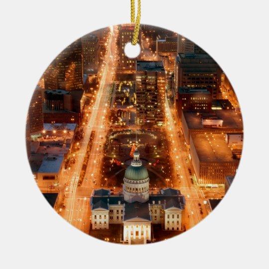 St. Louis Christmas View Ceramic Ornament