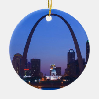 St. Louis City Scape Double-Sided Ceramic Round Christmas Ornament