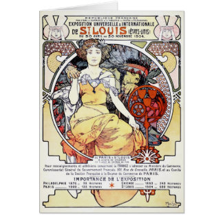 """""""St. Louis Exposition Art by Mucha"""" Card"""