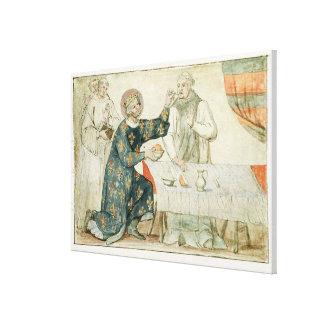 St. Louis feeding a miserly monk Canvas Print