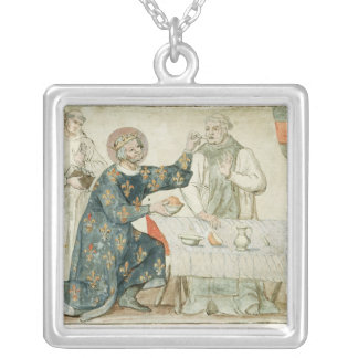 St. Louis feeding a miserly monk Silver Plated Necklace